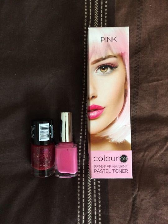 Pink semi permanent hair dye and pink nail varnish