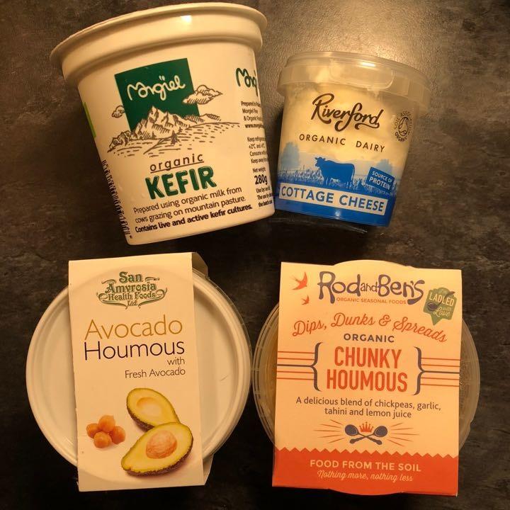 Various (hummus, kefir, cottage cheese...)