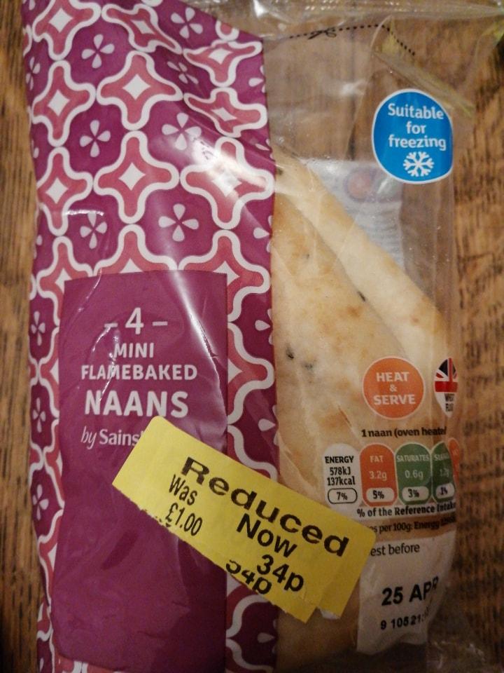 4 mini naan breads.