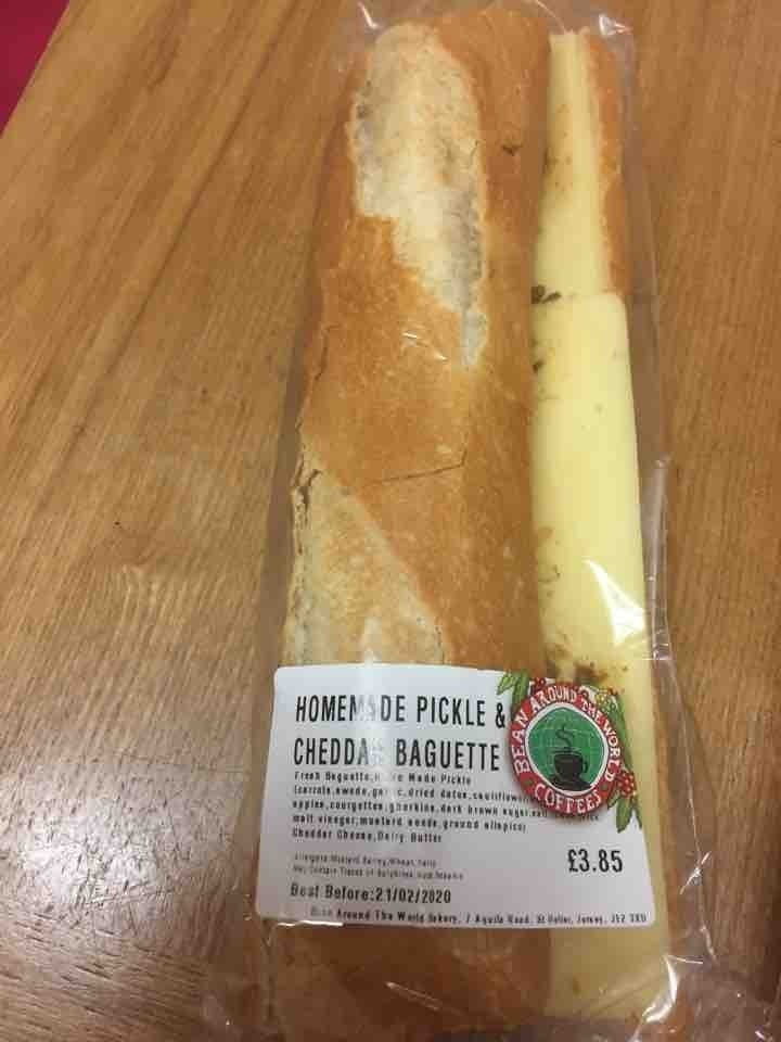 Cheese and pickle baguette