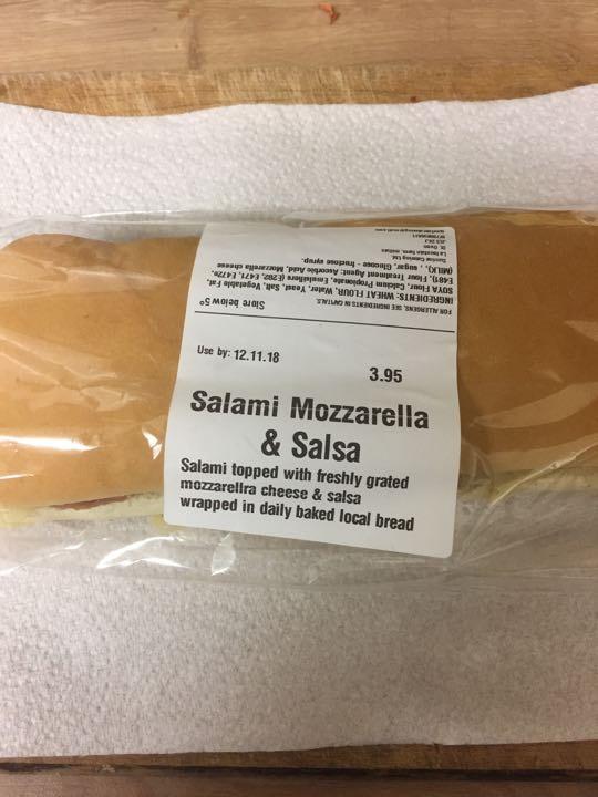 Salami and mozzarella roll