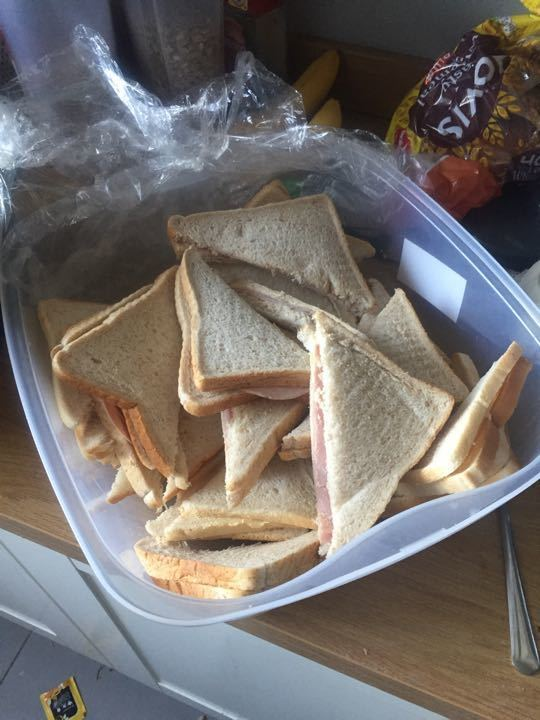Sandwhiches left over from bake sale today - ham, cheese or tuna mayo