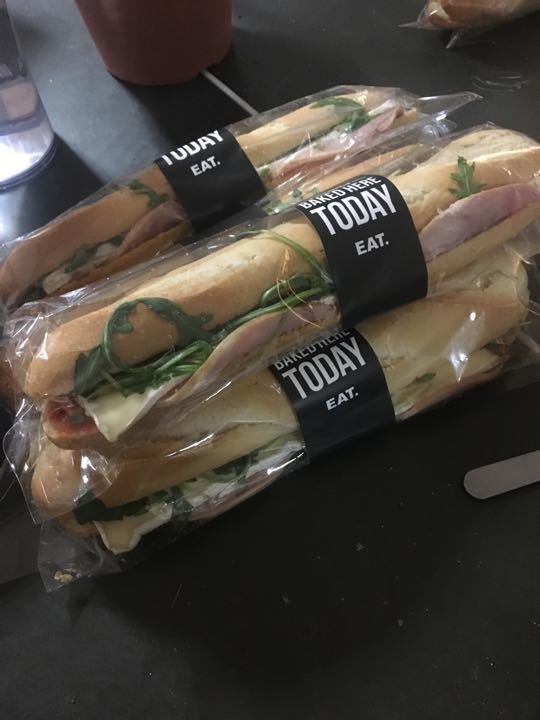 Goats cheese and ham baguette