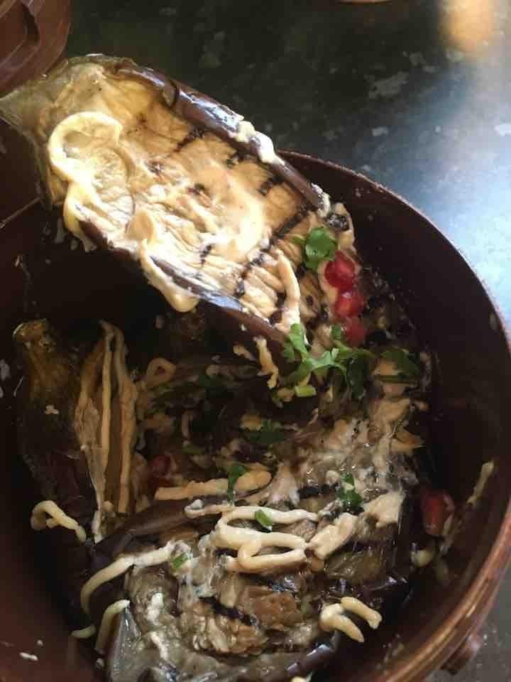Grilled aubergine with harissa