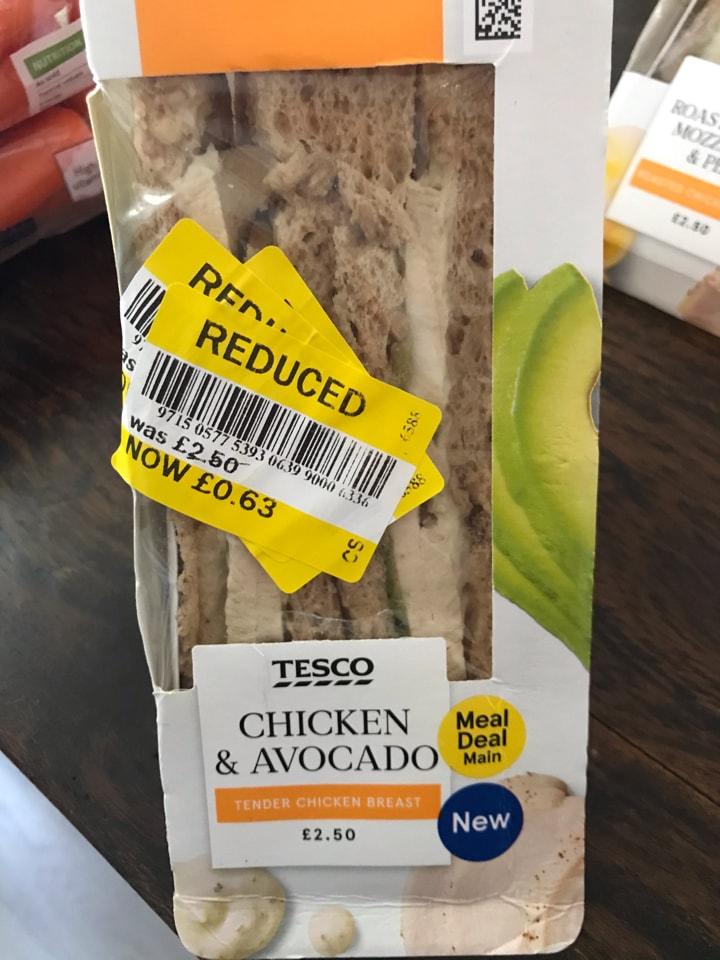 Tesco Chicken Avocado sandwich
