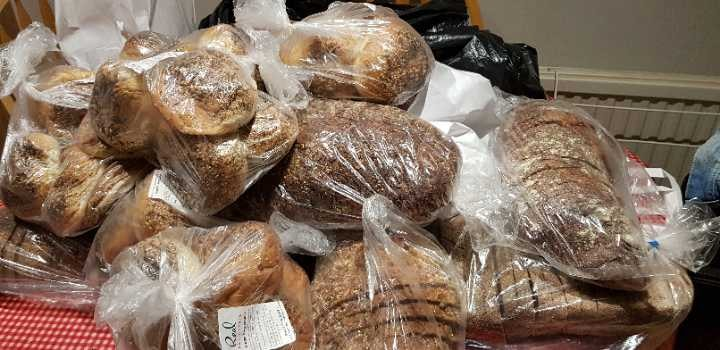 Lots of breads and sandwiches