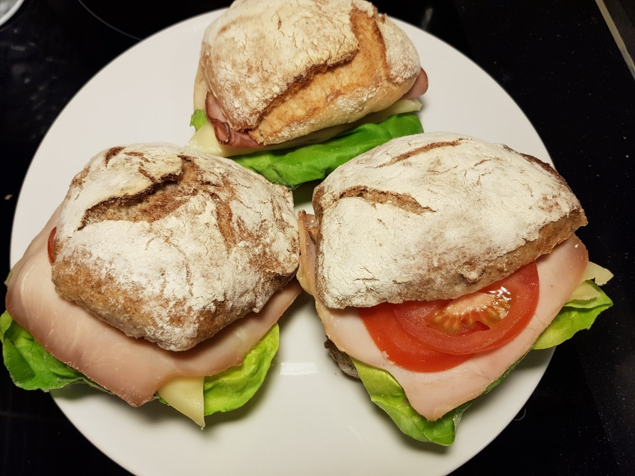 Cheese and ham sandwiches (3)