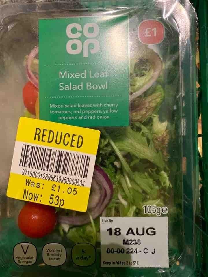 Mixed leaf salad bowl
