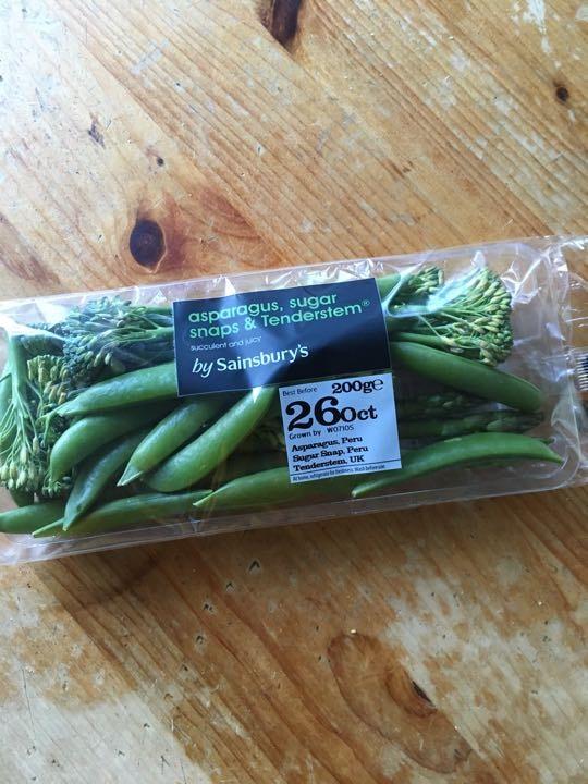 Asparagus, sugar snaps and broccoli