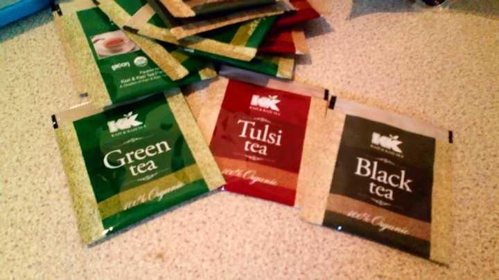 Green tea, tulsi tea, black tea sachets