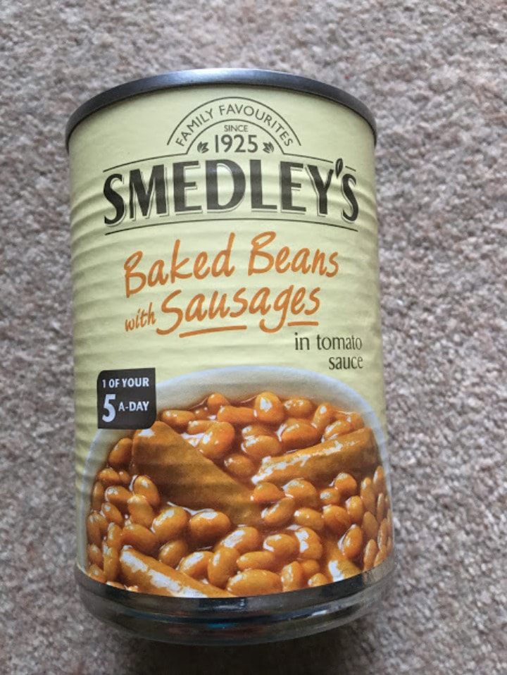 Smedleys tin of baked beans and sausages
