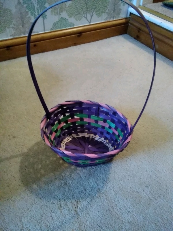 Handwoven purple basket