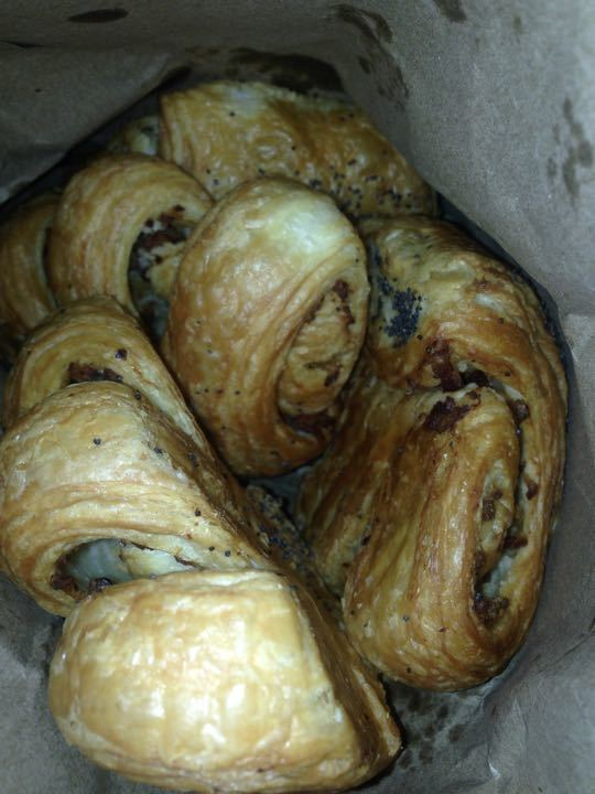 Bacon and poppy seeds pastery