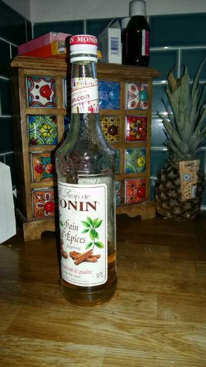 1/4 bottle Monin gingerbread syrup