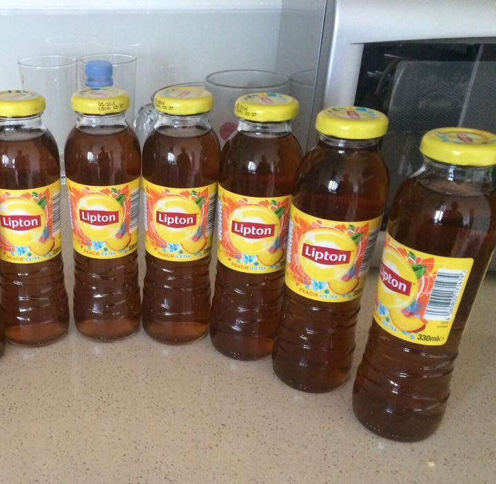 6 Lipton peach iced teas
