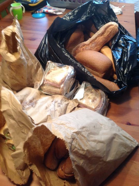 Bread, sandwiches and filled baguettes, vegetarian sausage rolls from bakery pick up