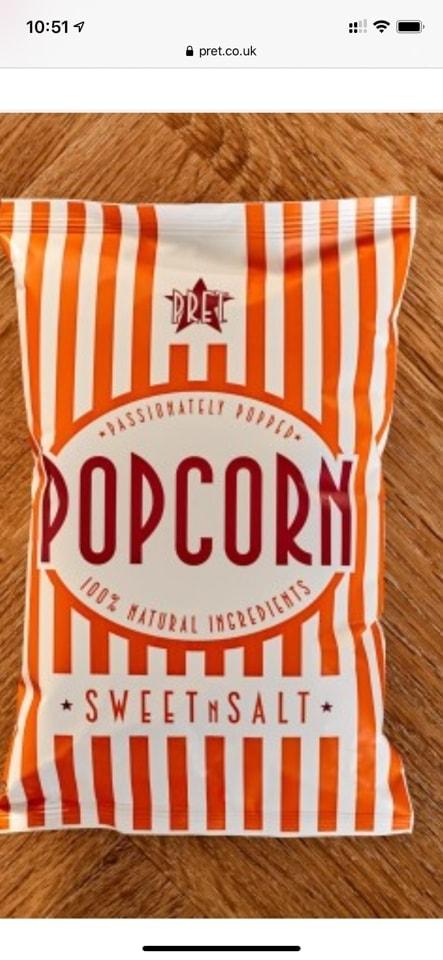 Pret sweet and salt popcorn x5