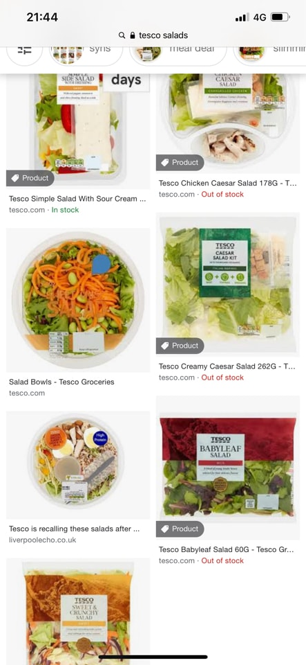 Tesco prepped salad boxes and bags