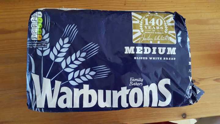 Warburtons Medium sliced loaf. Bbe 03/04. H