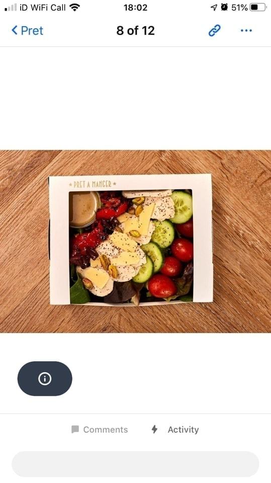Pret salad - crayfish and avo