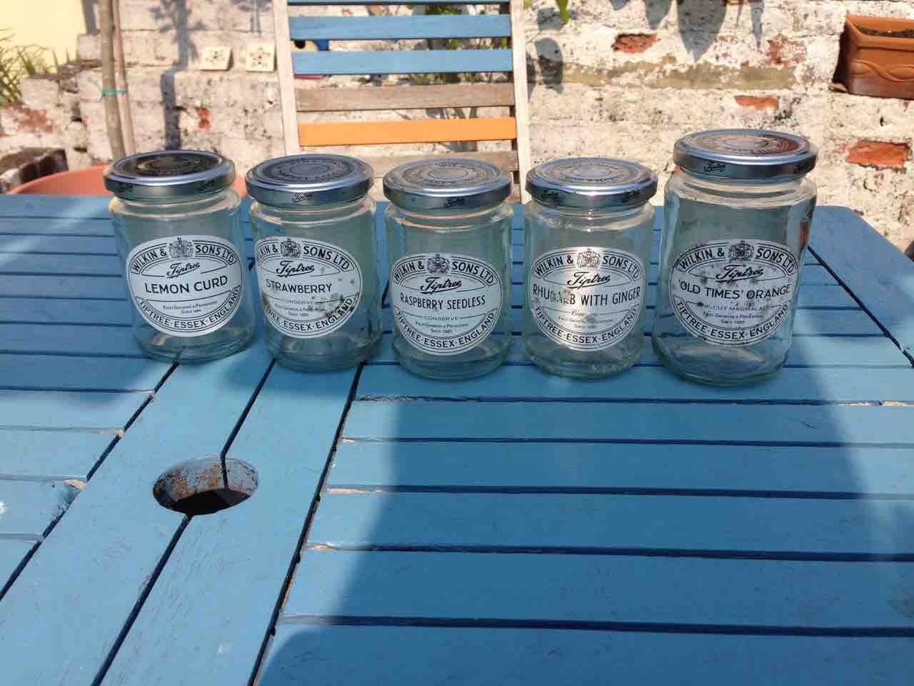 Empty tiptree jam jars x5