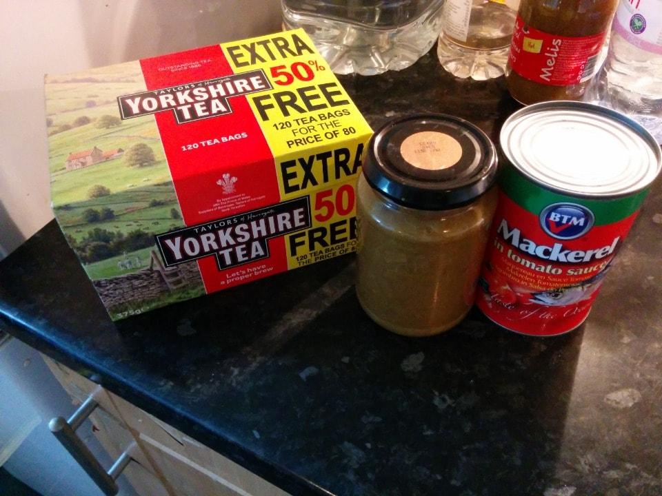 Black tea, rhubarb jam, canned mackerel