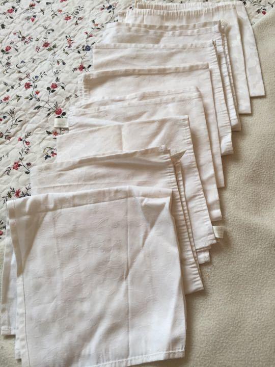 9 John Lewis white floral print napkins (decent shape but 1-2 have light staining)
