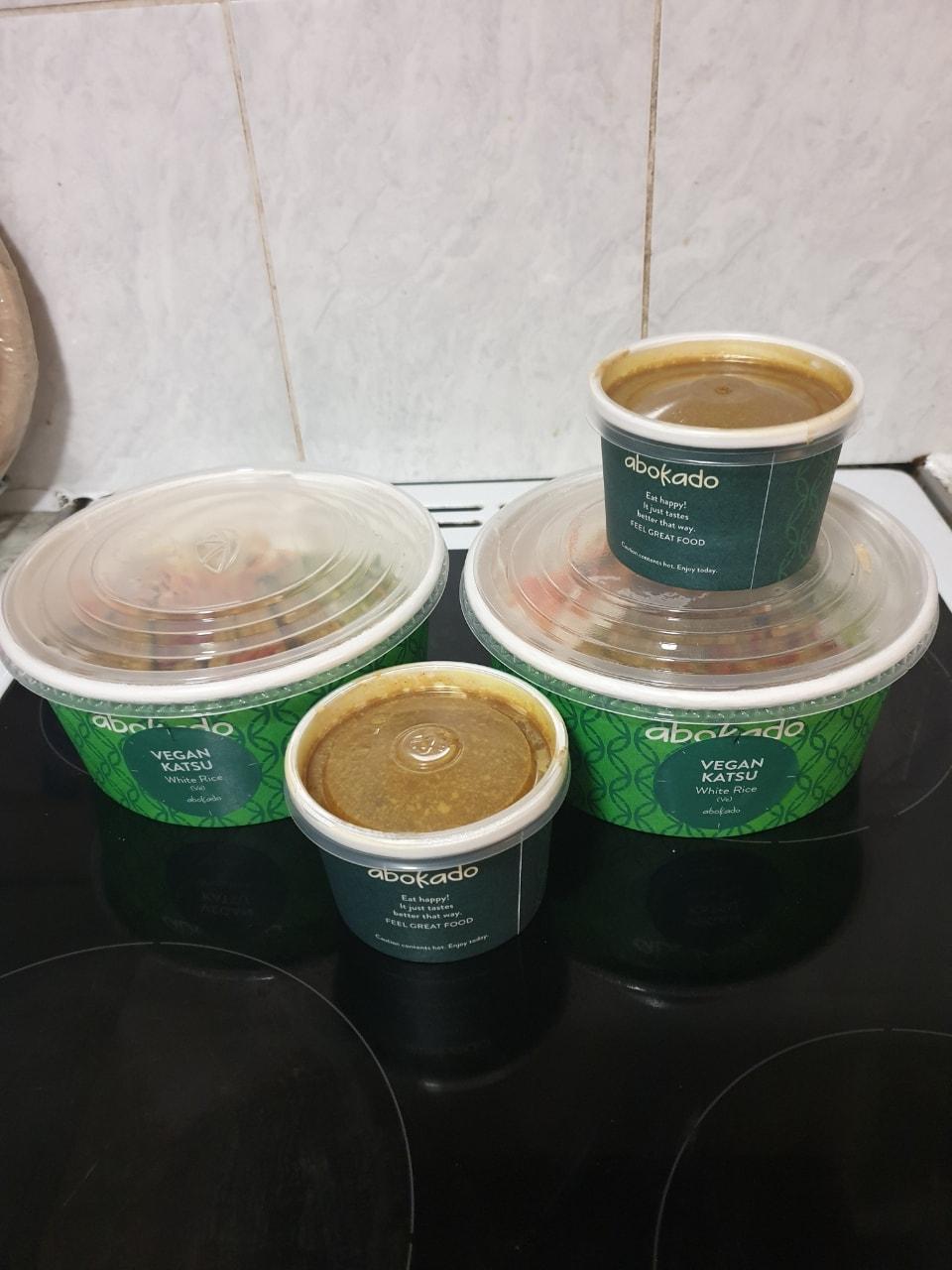 Vegan Katsu and curry pots.