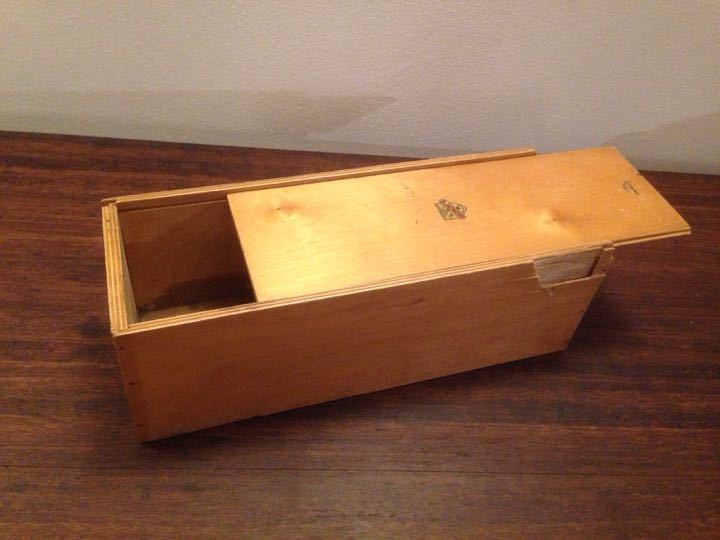 An old nicholtoys plywood toy box