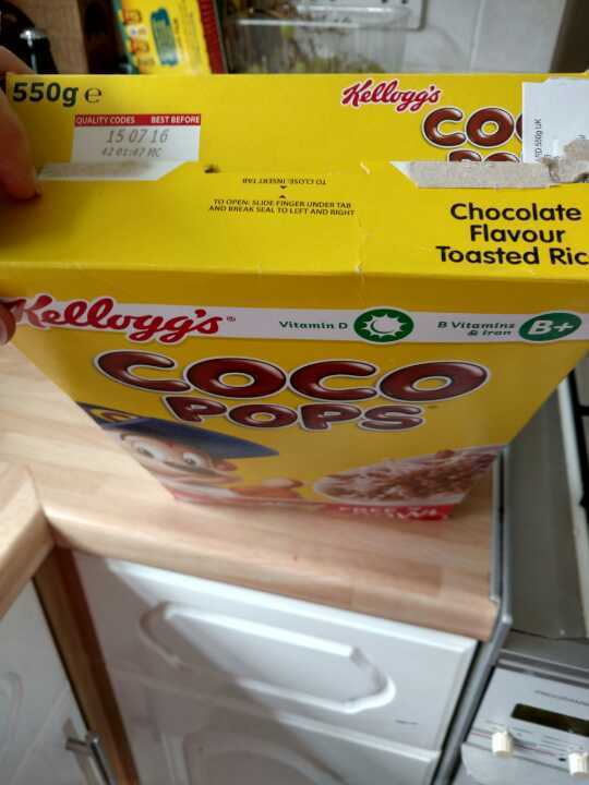 Open pack of Coco pops 500g
