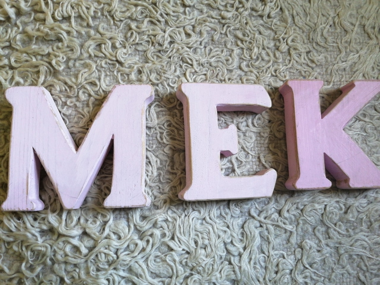 Wooden letters, E K M only