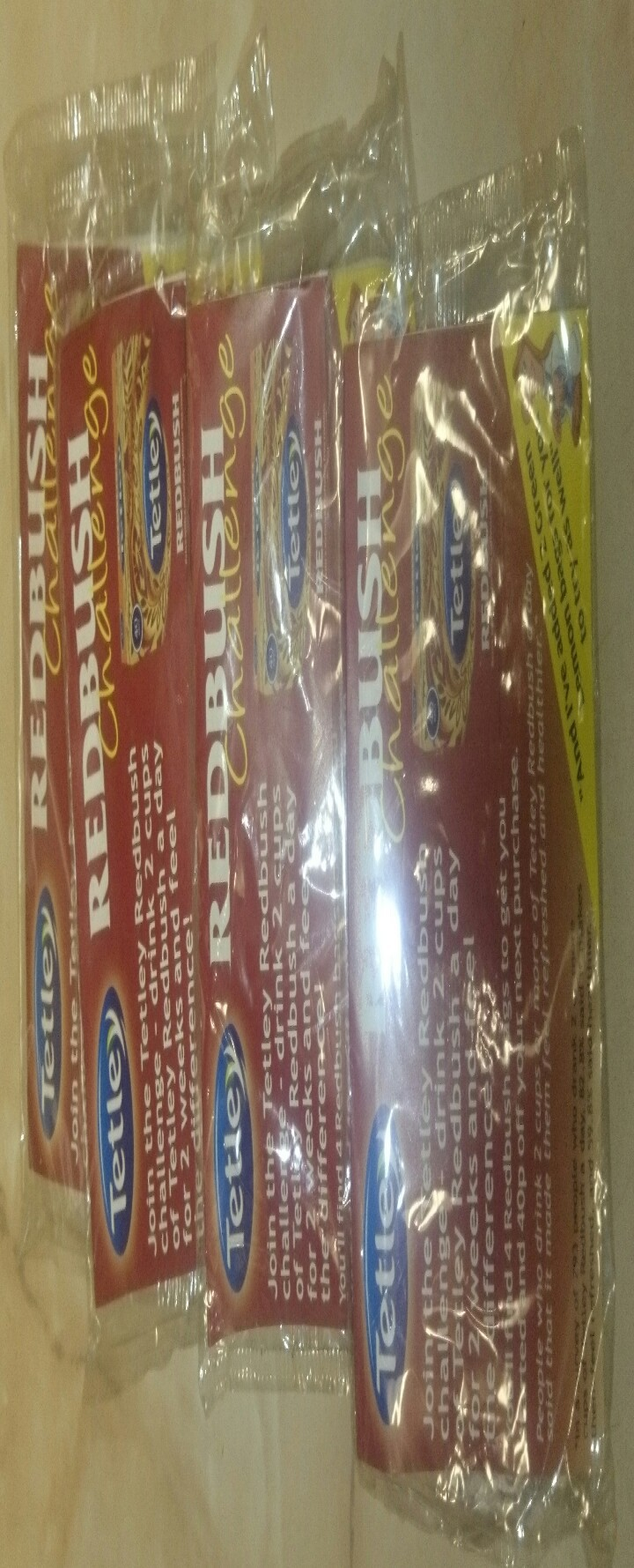 Tetley redbush sample tea bags. 21 packs contains 4 tea bags and green lemon bags as well