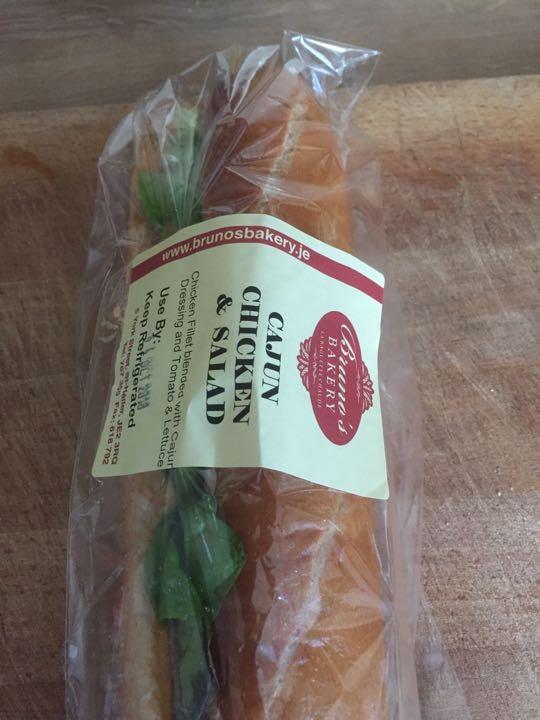 Cajun chicken and salad baguette
