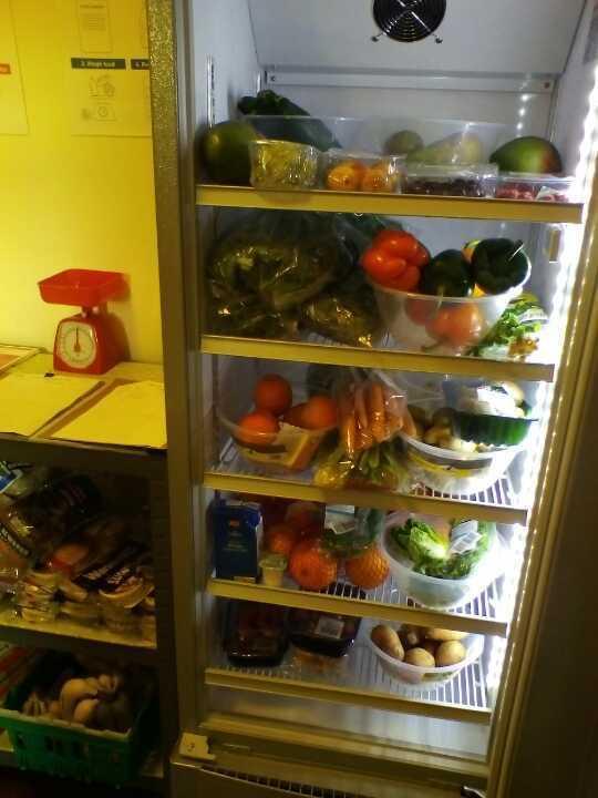 Community fridge mixed food.