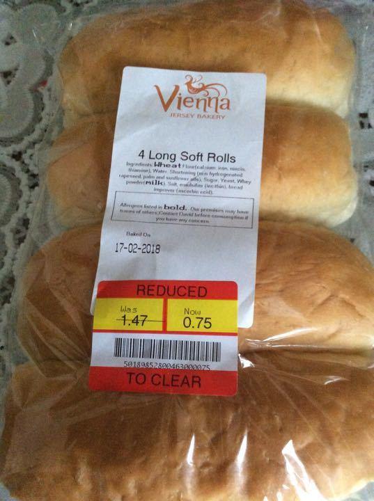 4 long soft rolls