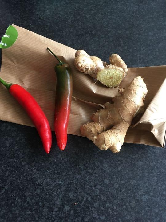 Fresh organic chilis and ginger