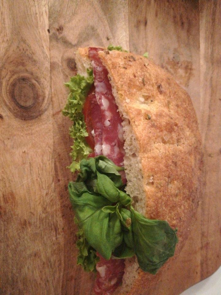 Fresh sandwich with mozzarela and salami from Non Solo bar (21.07)