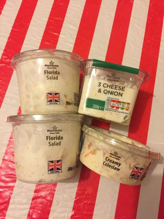 Florida salad/creamy coleslaw/3 cheese and onion collected from Morrisons