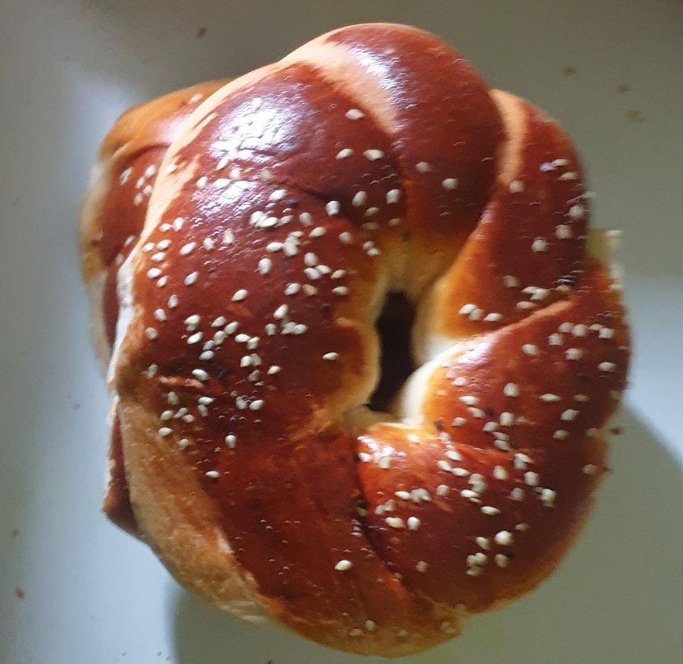 Soft sticky simit bun from moonlight bakery.