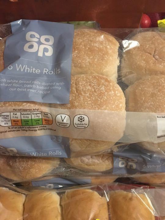 6 white rolls