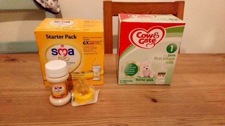 Baby formula milk - ready made individual bottles with sealed teats