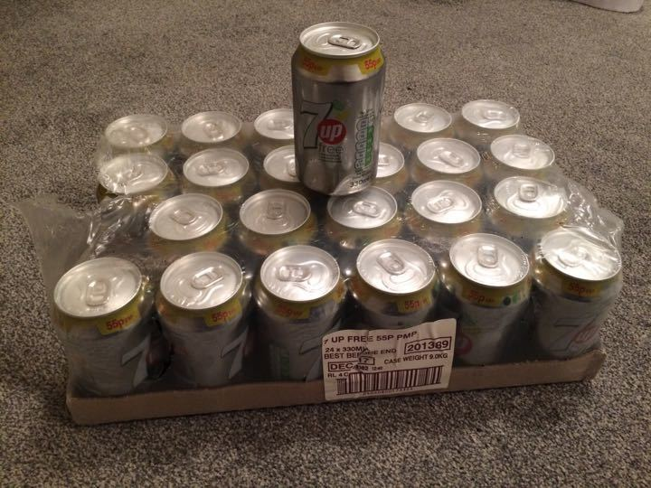 7up cans fizzy drinks 4 crates