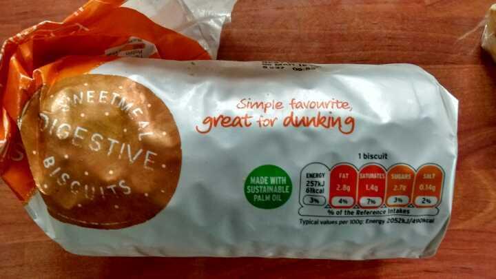 Half a pack Sainsbury's Basics digestive biscuits