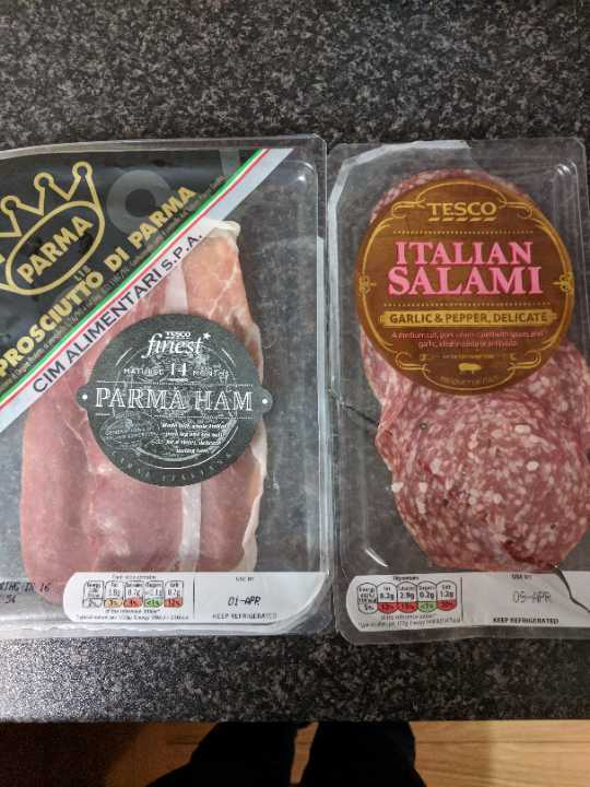 Parma ham/salami half packages