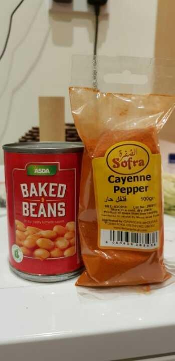 Baked beans. Chilli powder.