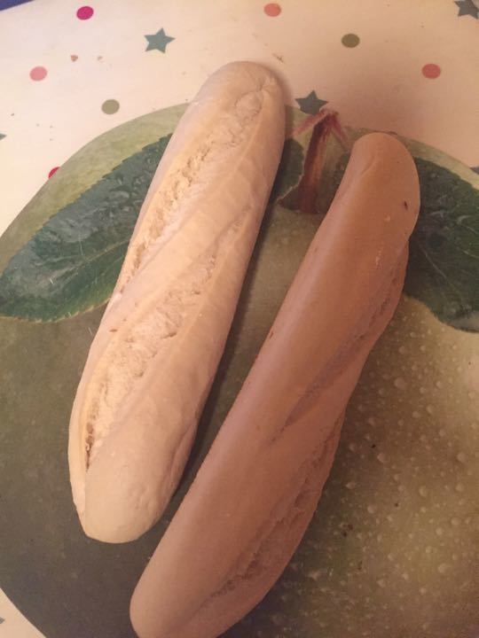 Two individual baguettes