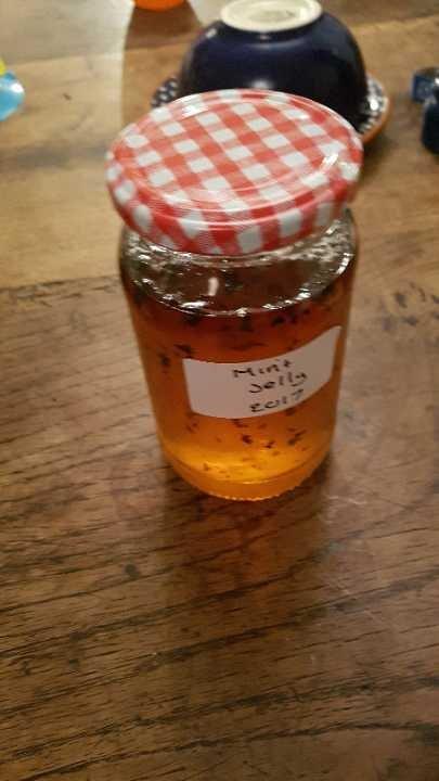 2 x homemade jars mint jelly