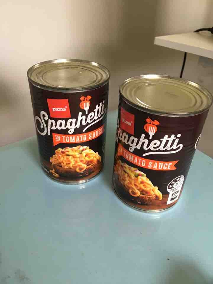 2 Pams Spaghetti in tomato sauce cans