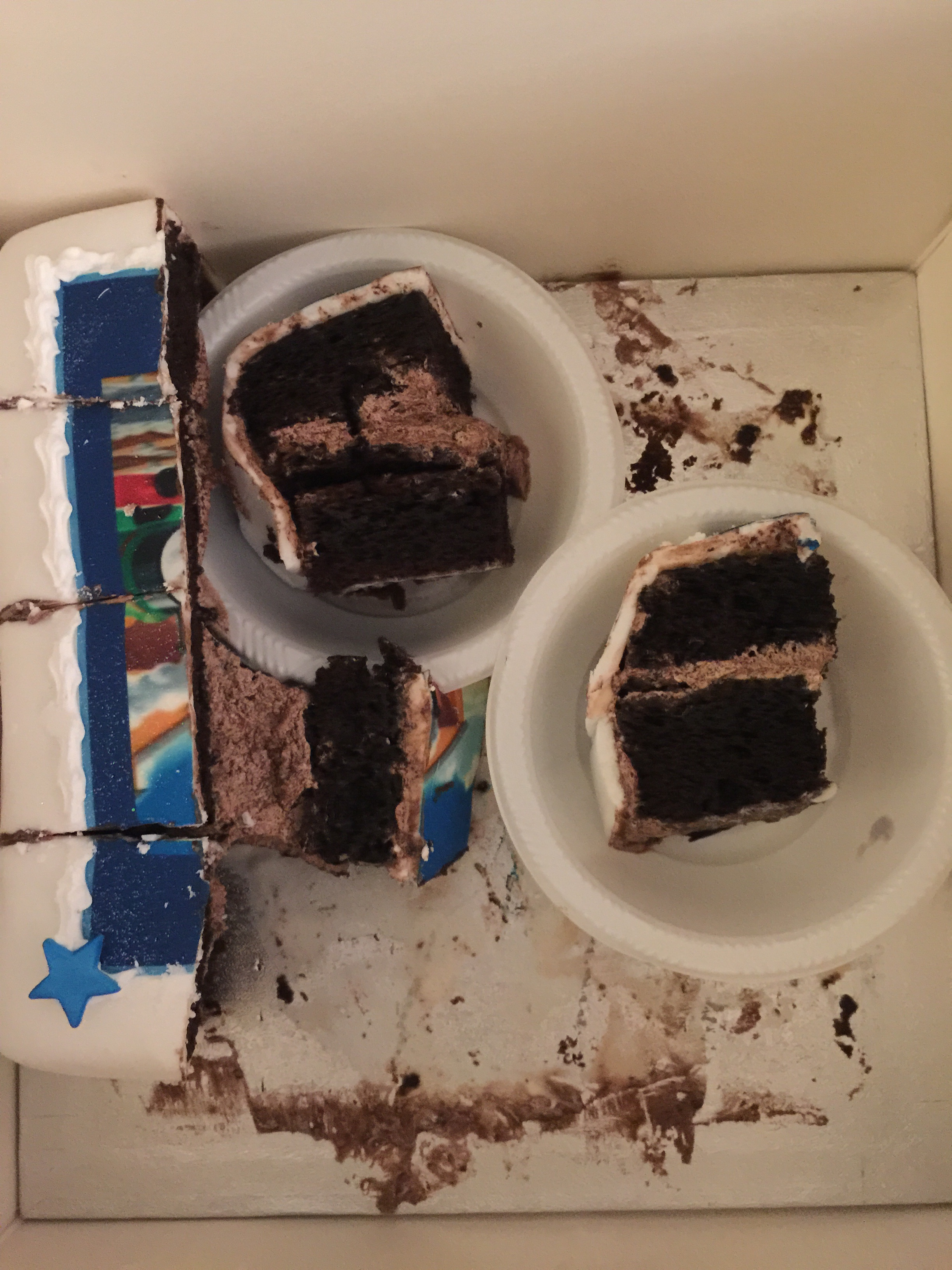 7 slices chocolate cake