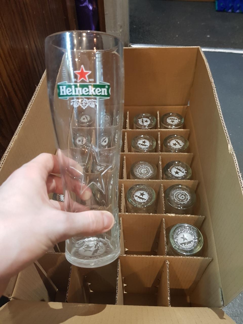 18 x Heineken Pint Glasses
